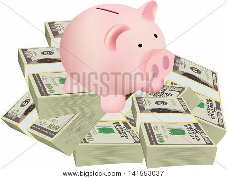 shaped piggy pig business pig-shaped piggy bank on a pile of dollars business