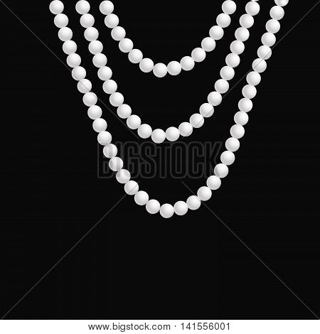 realistic pearl necklace hangs on a dark background