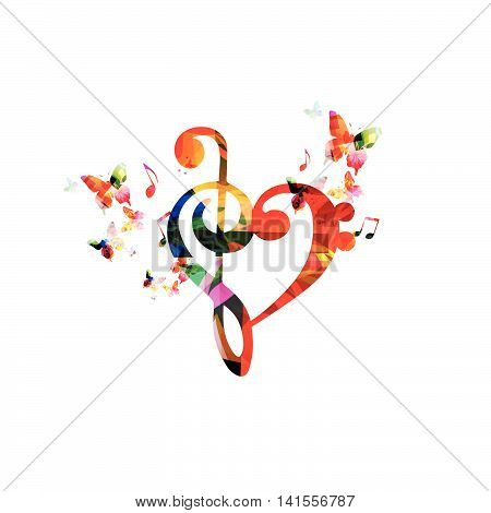 Colorful G-clef heart with butterflies isolated on white