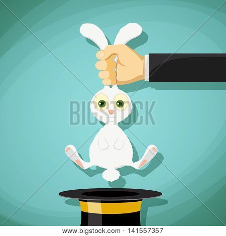 Illusionist pulls out a rabbit from a hat. Stock Vector cartoon illustration.