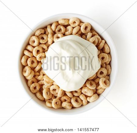 Bowl Of Whole Grain Cheerios Cereal And Yogurt, From Above