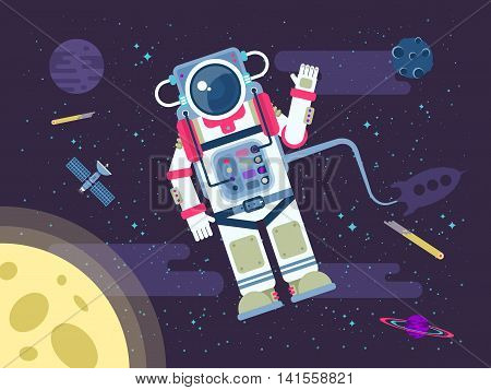 Stock vector illustration of an astronaut or cosmonaut flying in outer space near the moon in a flat style