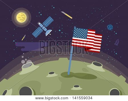 Stock vector illustration of the United States of America flag stuck into the moon surface in a flat style