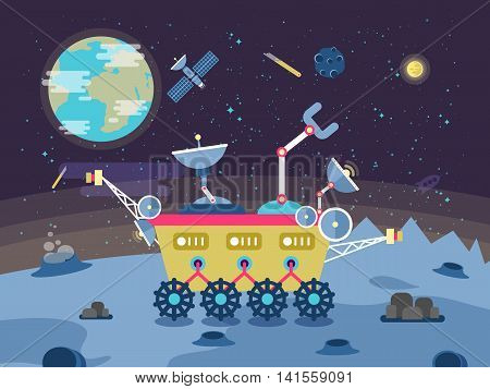 Stock vector illustration of a lunar rover on the surface of the moon on a background of outer space and the planet Earth in a flat style.