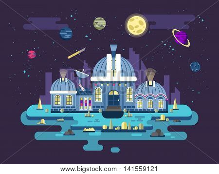 Stock vector illustration of UFO Observatory for space exploration in a flat style