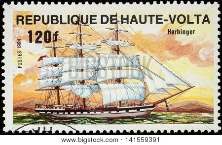 MOSCOW RUSSIA - AUGUST 04 2016: A stamp printed in Upper Volta shows sails