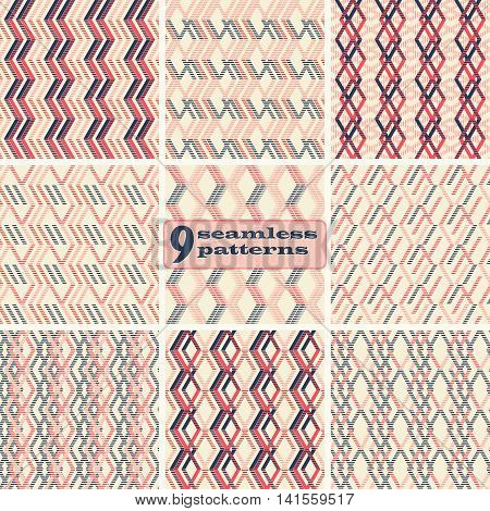 Set of 9 abstract geometric seamless patterns. Zigzag, rhomboid, parallelogram shapes of striped wide lines in red, pink, blue, beige colors. Vector illustration for stylish modern design