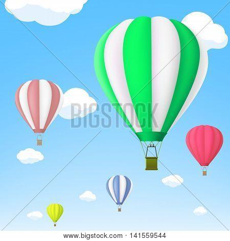 Hot air balloon in the sky. Stock vector illustration.