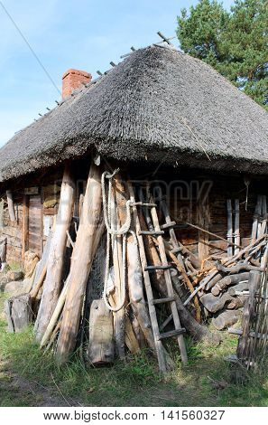 A old fisherman's hut with bulrush roof