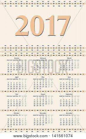 2017 Year Calendar Template.colorful Decorative Design.