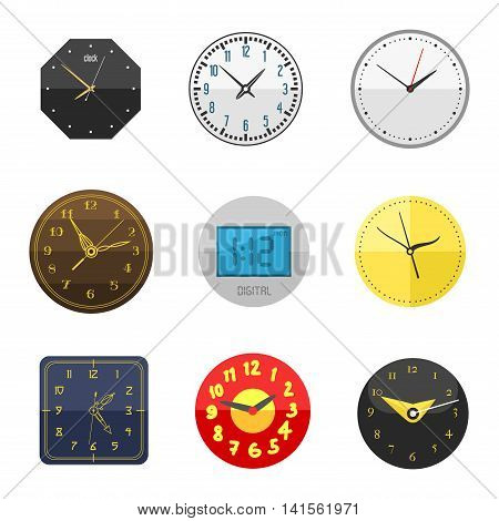 Clocks face dial watch alarm vector illustration. Clock face icon isolated on white background. Clocks, watch silhouette. Old, retro, modern and fashion clocks. Time tools icons, alarm, watch icon