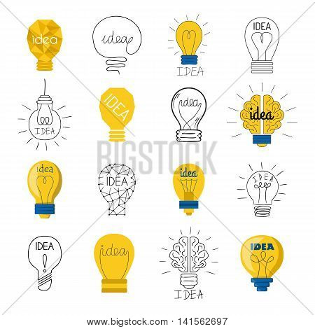 Set drawing idea light bulb concept creative design. Vector Idea lamp innovation electric creativity inspiration concept. Bright idea lamp icon symbol illumination solution lightbulb.