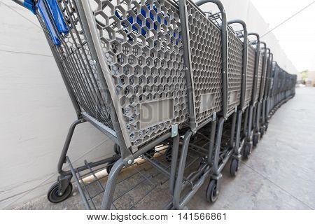 Shopping Cart Near Walmart Supermarket