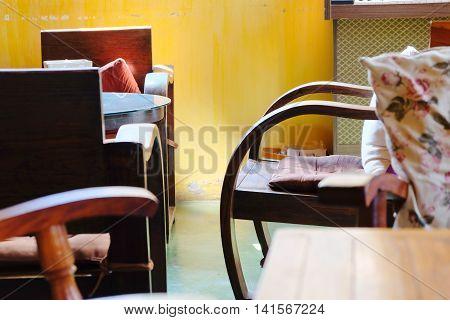 Retro furniture in wood in an interior design