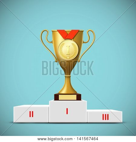 Cup with a gold medal on the podium. Award winner. Stock vector illustrations.