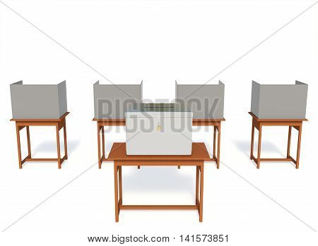 3D rendering election booth polling station isolated on white background with a clipping paths.