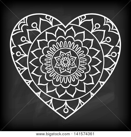 Doodle heart mandala on chalkboard. Outline flower in a heart shape. Coloring book pattern. Decorative round flower. Wedding invitation, baby shower design lelement. Vector illustration.