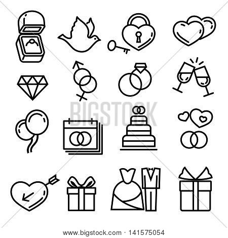Modern thin line wedding vector icons. Elements for wedding, illustration gift cake and ring for wedding ceremony