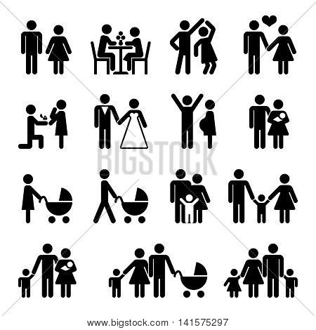 People family vector icon set. Love and family life black pictograms illustration