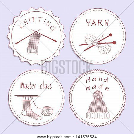 Set of round badges with knitting needles sock scarf hat. Stock vector illustrations of objects of knitting handicraft hand made. It can be used for packaging textile label emblem.