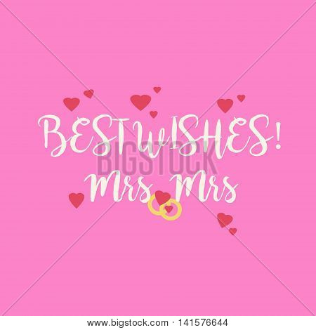 Pink Wedding Congratulations Card For Lesbian Couple