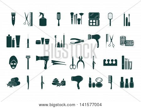 Vector beauty accessories flat icon set. Isolated on white background. Black silhouette beauty icon: make up manicure pedicure skin care hairdressers. Flat icons for logo web site design app UI