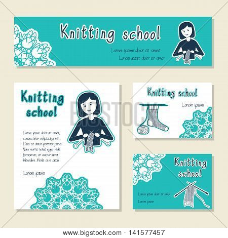 Vector set of cards template for knitting school yarn shop. Flat icon knitter girl. Set of template for business card information banner poster magazine presentation logo web site.