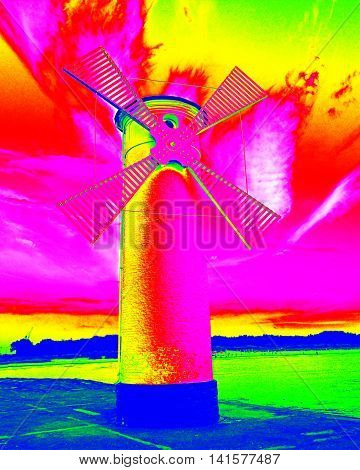 Infra Scan, Thermography Photo.white Old Lighthouse Decorated As Windmill By Sea