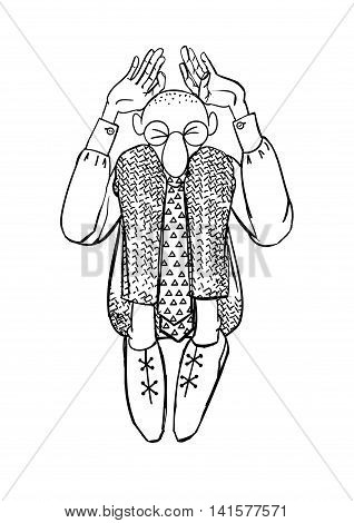 Clerk vector. Original stock vector illustration handmade