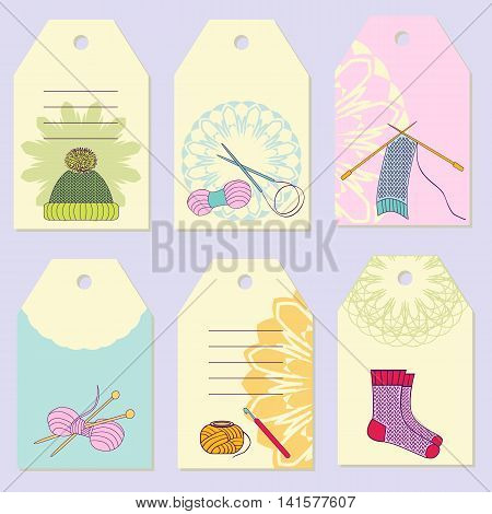 Set creative gift tags. Stock vector set of knitting device and knitted hat socks scarf. It can be used for planning invitation design
