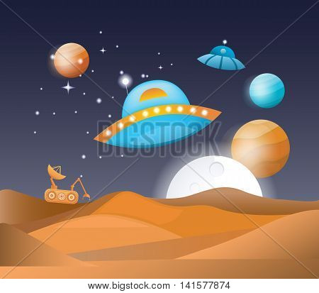 Vector illustration of a space landscape. Symbols of universe and cosmos. Set of objects: planets, ufo, moon, spaceship, robot, stars. Concept of cosmic galaxy.