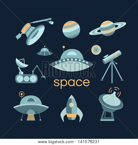 Space icon set. Collection of vector space objects: planets, ufo, rocket, spaceship, satellite, telescope. Symbols of universe and cosmos. Illustration in vintage style.