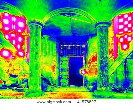 Infra Scan, Thermography Photo. Door Into Nterior Of Abandoned  Evangelical Church