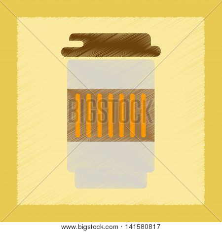 flat shading style icon coffee to go caffeine, vector