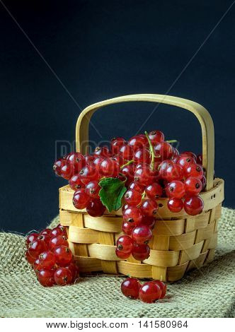 Red currants in a wooden basket with a dark copy space background