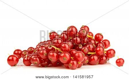 A small pile of red currants on a white background
