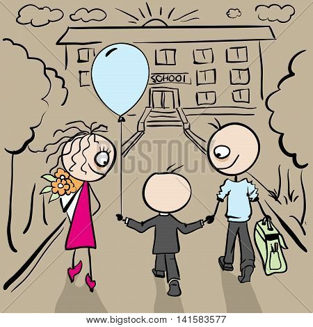 Parents accompany her son to school. Vector cartoon illustration
