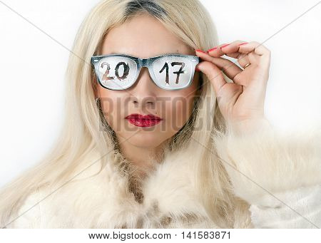Bright blonde with an inscription on the glasses 2017