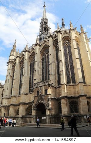PARIS, FRANCE - MAY 13, 2015: Chapel of Saint-Chapelle is a Gothic structure in the former Royal Palace (Conciergerie) on island Cite.