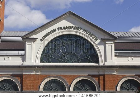 LONDON, UNITED KINGDOM - SEPTEMBER 12 2015: Facade of London Transport Museum in Covent Garden in London