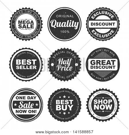 Set of nine Stickers, Tags, Badges or Labels design of Sale and Discounts on white background.