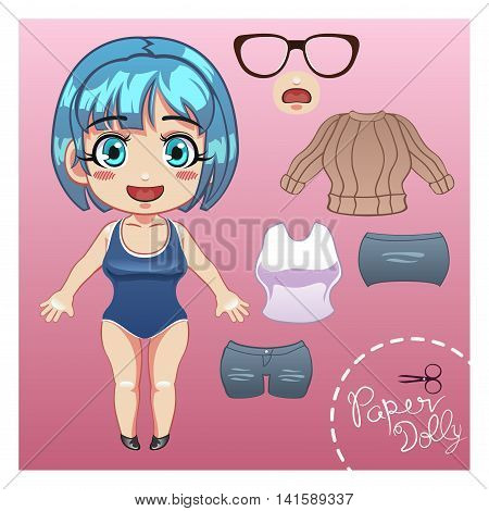 A vector illustration of cut dress up paper doll template