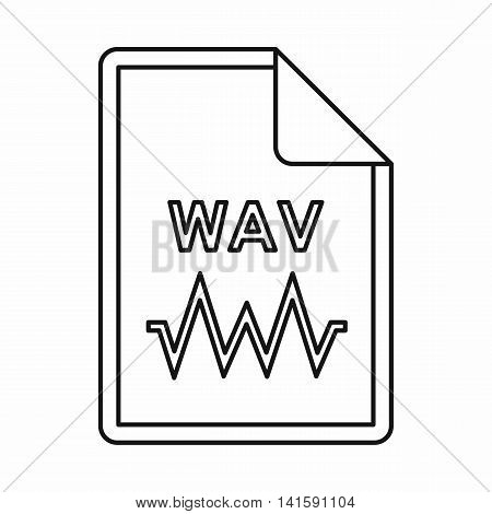WAV audio file extension icon in outline style isolated on white background