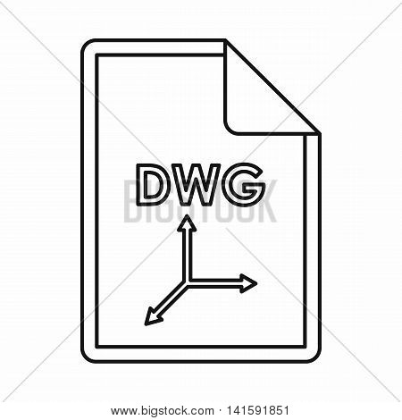 DWG file extension icon in outline style isolated on white background