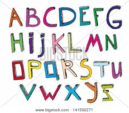 Hand drawn vector typeset. Volumetric handmade letters. Multicolored English alphabet in funny style on a white background. Useful for creating children books covers, educational and school designs