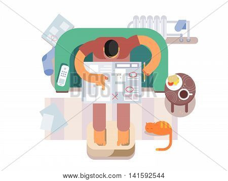 Unemployed looking for a job in the newspaper. Search or find, work, flat vector illustration