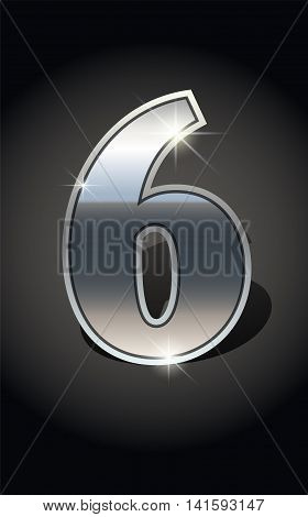 Silver number six on dark background isolated. Silver alphabet. Vector illustration number six. Number six icon. Vector illustration stock vector.