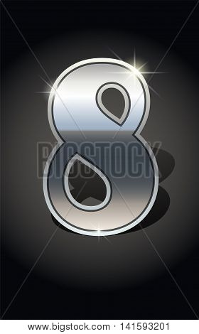 Silver number eight on dark background isolated. Silver alphabet. Number eight for Silver numbers design. Number eight icon. Vector illustration stock vector.