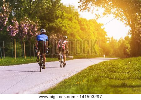Bike Path And The Couple In Danube - Vienna, Autria