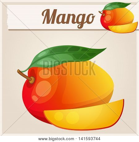 Mango.  Cartoon vector icon. Series of food and drink